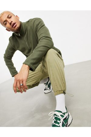 New Look Funnel neck fleece sweat in khaki