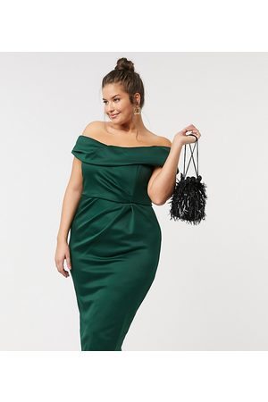 ASOS ASOS DESIGN Curve drape fallen shoulder midi pencil dress in forest