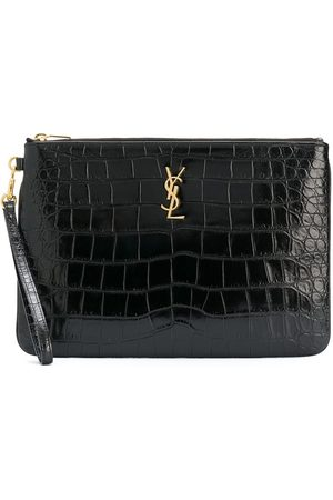 Saint Laurent Croc-embossed tablet-holder pouch bag