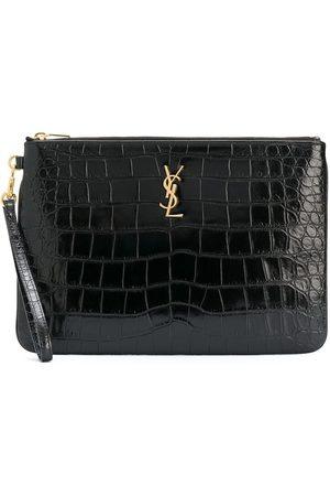 Saint Laurent Women Clutches - Crocodile-embossed tablet-holder pouch bag