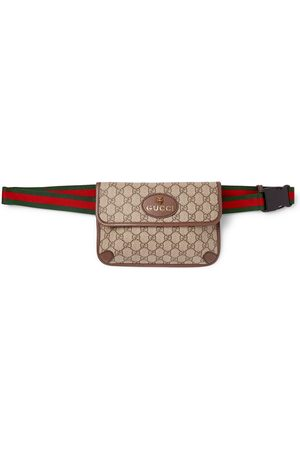 Gucci Men Belts - Ophedia Leather-Trimmed Monogrammed Coated-Canvas Belt Bag