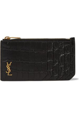 Saint Laurent Men Wallets - Logo-Appliquéd Croc-Effect Leather Wallet