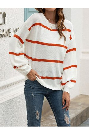 YOINS White Striped Crew Neck Long Sleeves Sweater