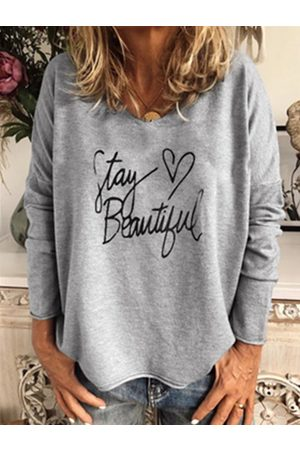 YOINS Grey Letter V-neck Long Sleeves Tee
