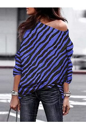 YOINS Zebra Print One Shoulder Long Sleeves Tee