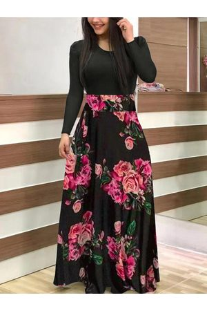 YOINS Black Floral Patchwork Long sleeve Maxi Dress