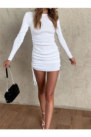 YOINS Knit Drawstring Crew neck Long sleeves Mini Dress