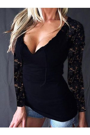 YOINS Black Lace Patchwork Scoop Neck Long Sleeves Tee