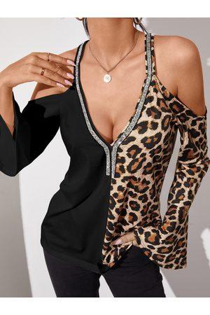 YOINS Black Leopard Patchwork Cold Shoulder Bell Sleeves Tee