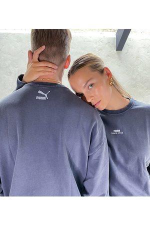 PUMA Logo oversized sweatshirt in washed ebony - exclusive to asos