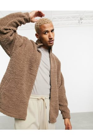 ASOS Oversized track top in brown teddy borg