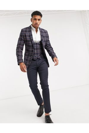 ASOS Wedding super skinny suit jacket in check