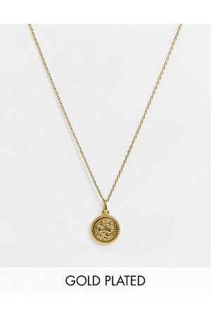 ASOS Skinny 1.5mm neckchain with coin pendant in 14k plate