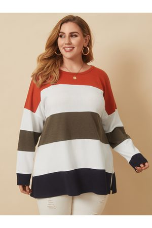 YOINS Plus Size Crew Neck Patchwork Slit Design Long Sleeves Tee
