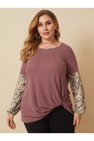 YOINS Plus Size Crew Neck Patchwork Snakeskin Long Sleeves Tee