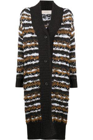 GENTRYPORTOFINO Long striped knit cardigan