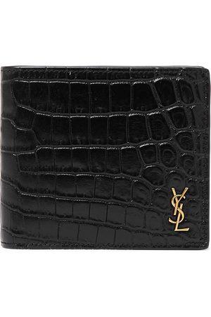 Saint Laurent Logo-Appliquéd Croc-Effect Patent-Leather Billfold Wallet