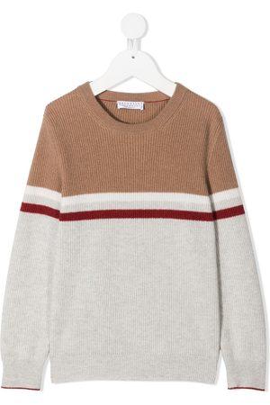 Brunello Cucinelli Boys Jumpers - Colour-block cashmere jumper