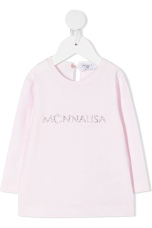 MONNALISA Rhinestone logo long-sleeved T-shirt