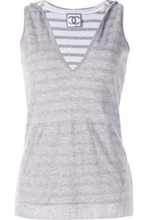 CHANEL Striped sleeveless hoodie