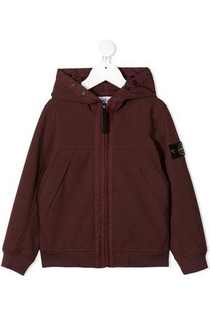 Stone Island Zipped logo patch hoodie