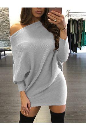 YOINS One Shoulder Bat Sleeves Knitted Dress