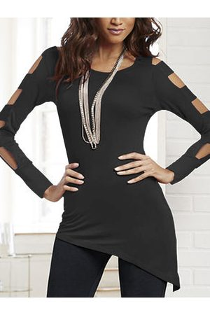 YOINS Black Cut Out Cold Shoulder Long Sleeves Tee
