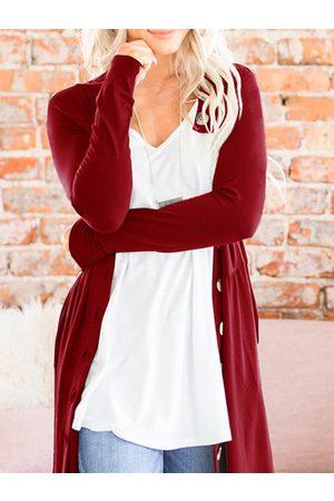 YOINS Button Design Round Neck Long Sleeves Cardigan