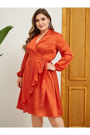 YOINS Plus Size Orange Belt Design Long Sleeves Dress