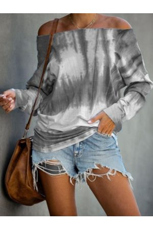YOINS Grey Tie Dye Round Neck Long Sleeves Tee