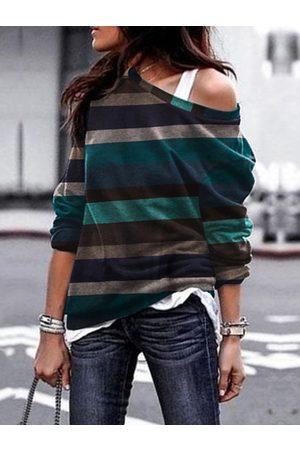 YOINS Blue Striped One Shoulder Long Sleeves Sweatshirt