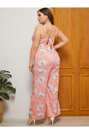 YOINS Women Jumpsuits - Plus Size Pink Backless Design Floral Print Sleeveless Jumpsuit