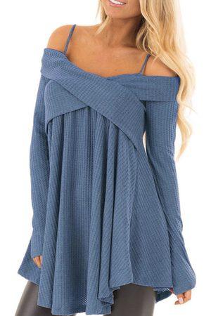 YOINS Blue Crossed Front Design Off The Shoulder Long Sleeves Sweater