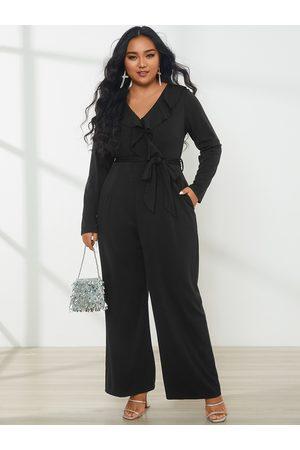 YOINS Plus Size V-neck Wrap Design Belt Design Ruffle Trim Long Sleeves Jumpsuit