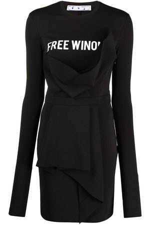 OFF-WHITE Asymmetric slogan dress with draped detail