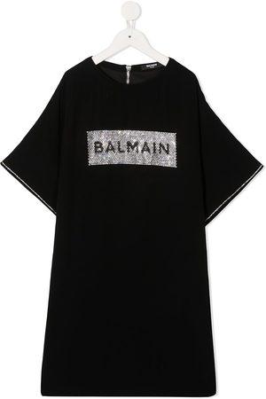 Balmain Embellished logo T-shirt dress