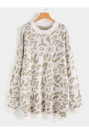 YOINS Plus Size Leopard Round Neck Long Sleeves Sweater