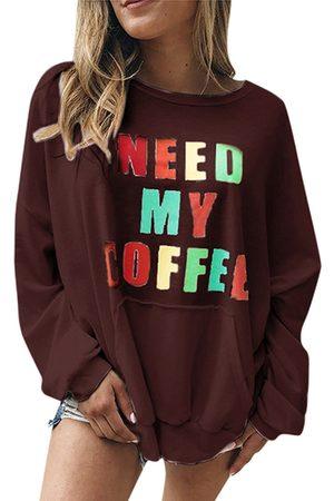 YOINS Colorful Letter Print Crew Neck Long Sleeves Sweatshirt