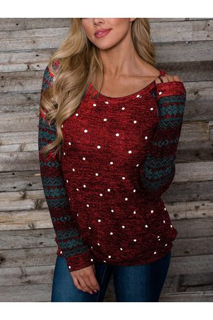 YOINS Polka Dot Tribal Patchwork Round Neck Long Sleeves Tee