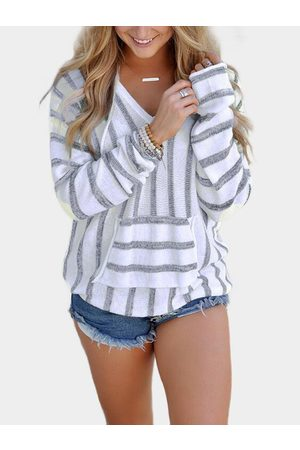 YOINS Grey Stripe V-neck Long Sleeves oversize Hoodie