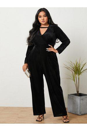 YOINS Plus Size V-neck Wrap Design Wide Leg Long Sleeves Jumpsuit