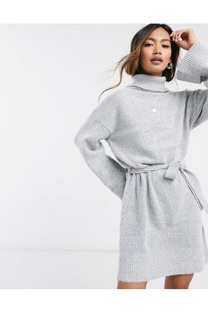 VILA Roll neck jumper dress with tie waist in