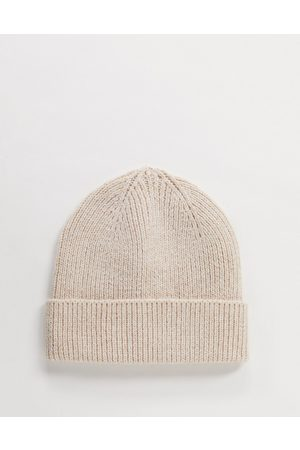 ASOS Fisherman rib beanie hat in recycled polyester in -Neutral