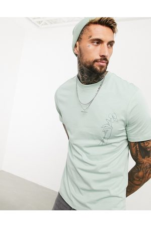 ASOS T-shirt with flower chest print in