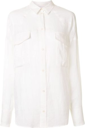 Karen Walker Cedar pointed collar ramie shirt