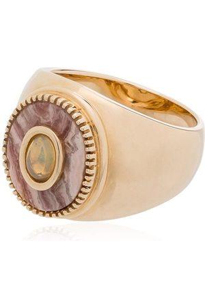 O Thongthai 9kt opal Rhodocrosite ring