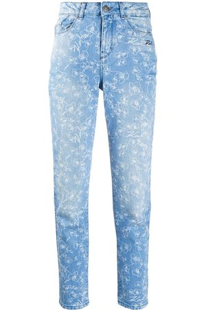 Karl Lagerfeld Orchid-print high-rise slim jeans