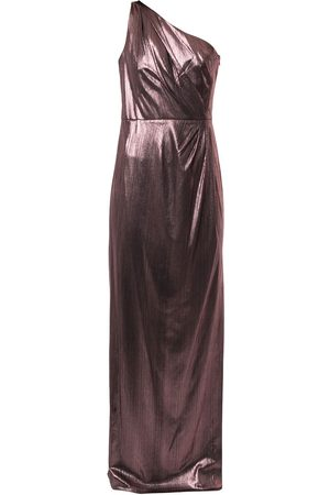 Marchesa Notte Metallized one-shoulder dress