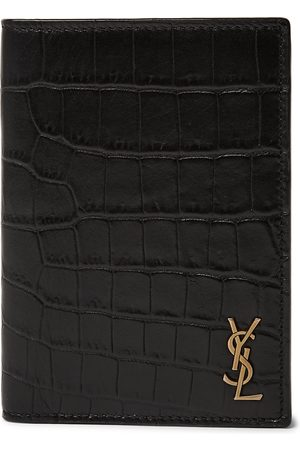 Saint Laurent Logo-Appliquéd Croc-Effect Leather Billfold Wallet
