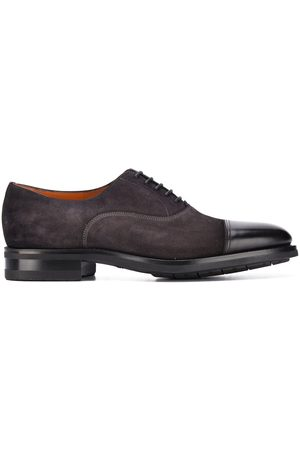 santoni Suede lace up shoes with contrast toe